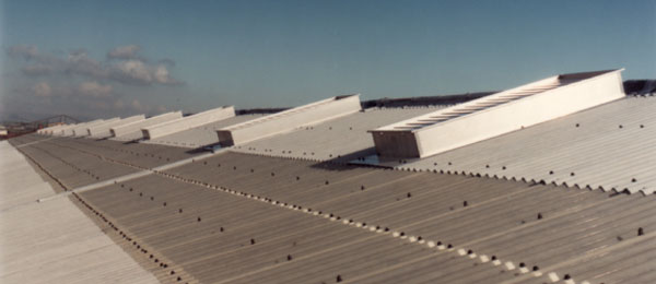 A row of Clearvent roof mounted natural ventilators in-situ