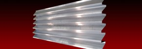 A fabricated dummy louvre section on a red background