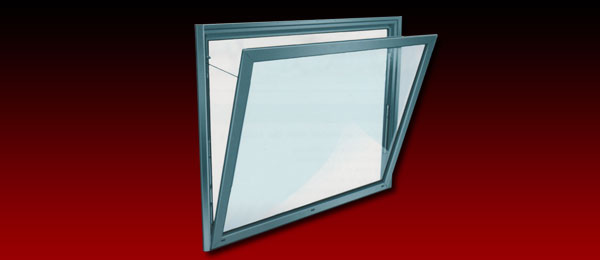 A vertical smoke ventilation window in the open position