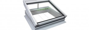 A thermally broken Greenlite rooflight in the open position