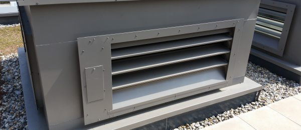 Thermac insulated natural ventilation louvres in place on a roof in London