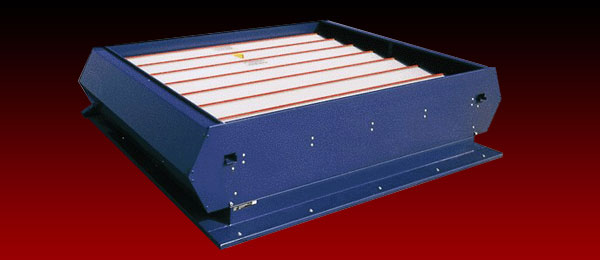 A louvred smoke ventilator in the closed position