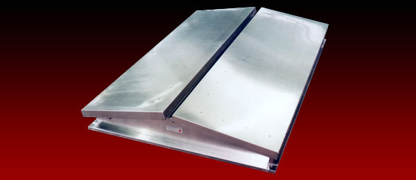 A double flap type natural ventilation outlet in mill finish aluminium