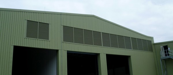 Fabricated fixed natural ventilation louvres on site at Loch Head Dunfermline