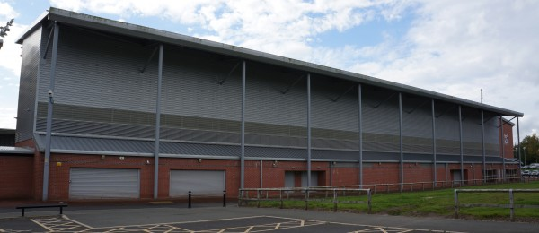 Our Continuous Fixed Blade Louvre system in place at Leigh Sports Village