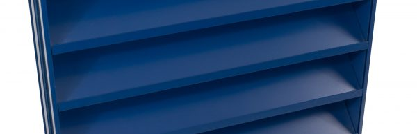 Maximair K Series architectural louvre constructed from extruded aluminium and finished in blue PPC